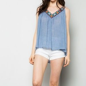 Skye Embroidered blue top.